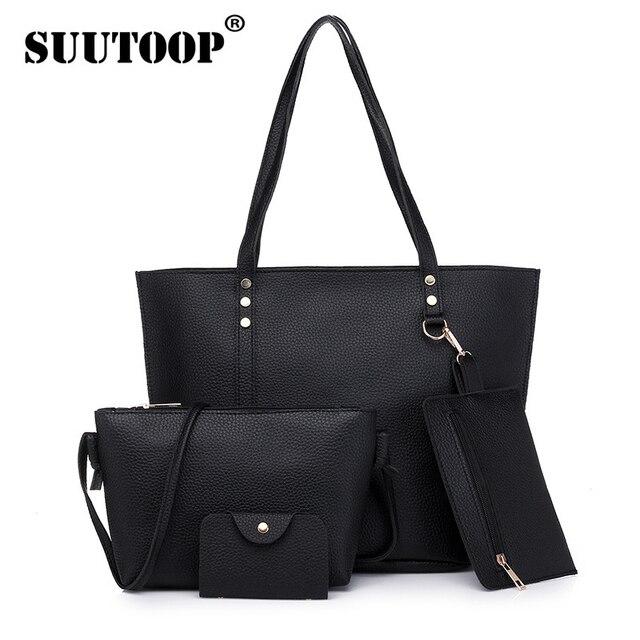 9c6508d2df SUUTOOP New Women Bag Top-Handle Big Capacity Female Handbag Fashion Shoulder  Bag Purse Ladies PU Leather Crossbody Bag Set