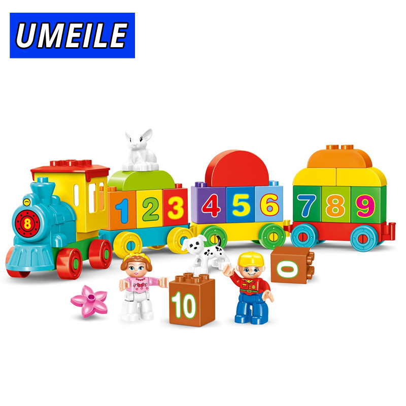 UMEILE 68PCS Building Block City Number Figure Girl Animal Boy Train Model Educational Baby Toys Compatible with Duplo 26pcs wooden fun big building block with animal brand top bright high quality for baby kid toy gift boy brinquedo menina tp048