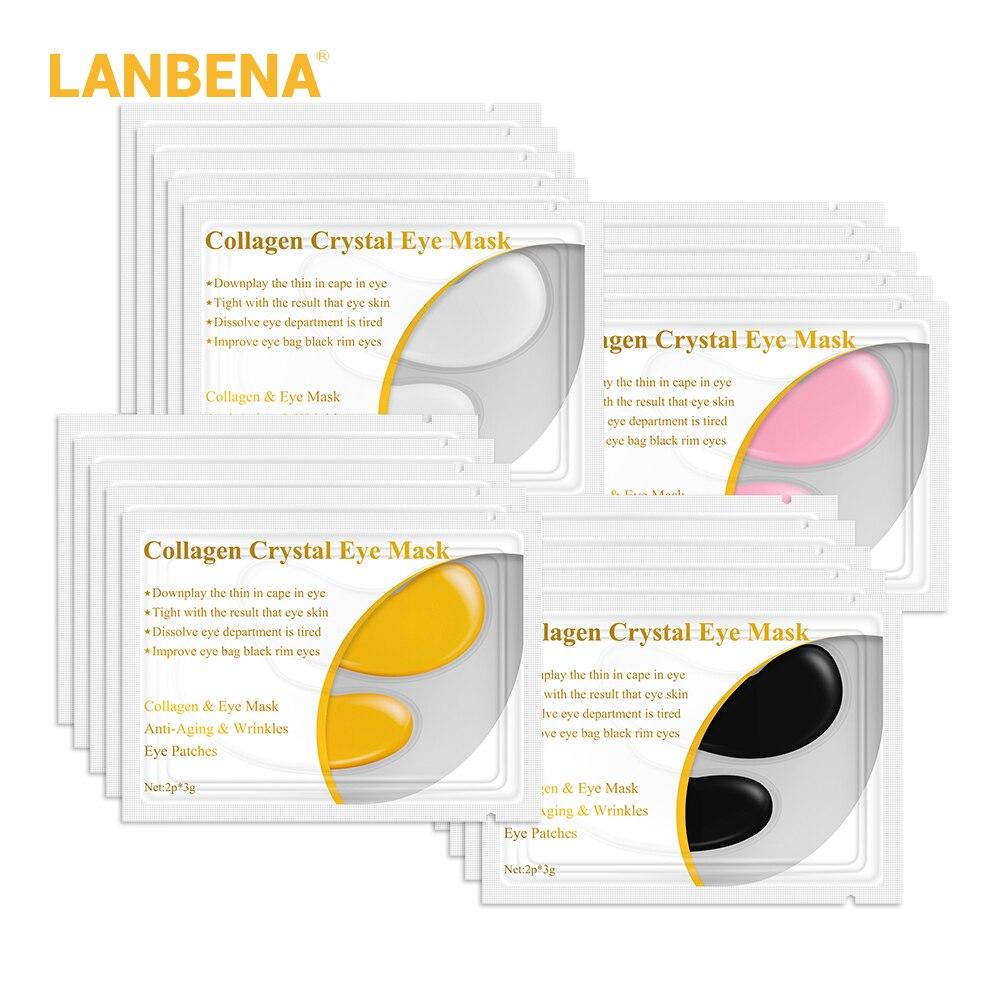 LANBENA 24 К Золотая маска для глаз коллагеновые патчи для глаз темный круг отечность глаз сумка Anti-Aging морщин укрепляющий кожу уход 10 шт. = 5 пар