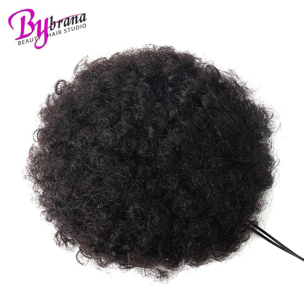 Afro Verworrene Lockige Pferdeschwanz Chignon Für Frauen Natürliche Schwarze Remy Haar Clip In Pferdeschwänzen Kordelzug 100% Menschenhaar Verlängerung 1 Pcs