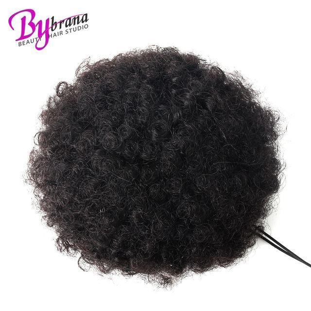 Afro rizado Cola de Caballo moño para las mujeres negro Natural Clip de pelo Remy en cola de caballo de 100% extensión del cabello humano 1 piezas