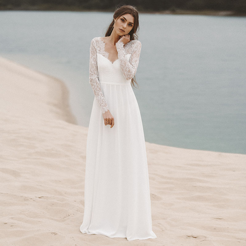 LORIE Beach Wedding Dresses Long Sleeve V Neack Lace Top A-Line Chiffon Skirt Open Back Vintage Bride Dress Wedding Gown 2019