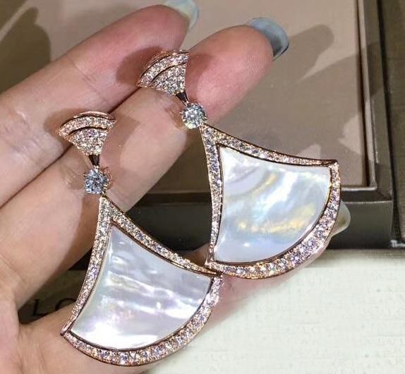 Nowy w stylu vintage Party biżuteria cubic cyrkon duże muszla pearl 925 sterling silver kolczyki dla kobiet w Kolczyki z zapięciem typu sztyft od Biżuteria i akcesoria na  Grupa 1