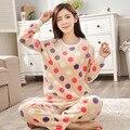2016 Mulheres Pijamas de Inverno Quente Ponto Pijama Unicornio Teste Padrão de Bolinhas Conjuntos Pijamas Homewear Pijamas Mujer Femme Sleepwear