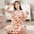 2016 Pijamas de Invierno Mujeres Calientes de Puntada Unicornio Modelo de Lunar Pijamas Femme Homewear Pijamas Mujer ropa de Dormir