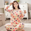 2016 Winter Pyjamas Women Warm Stitch Pijama Unicornio Polka Dot Pattern Pajamas Sets Femme Homewear Pijamas Mujer Sleepwear