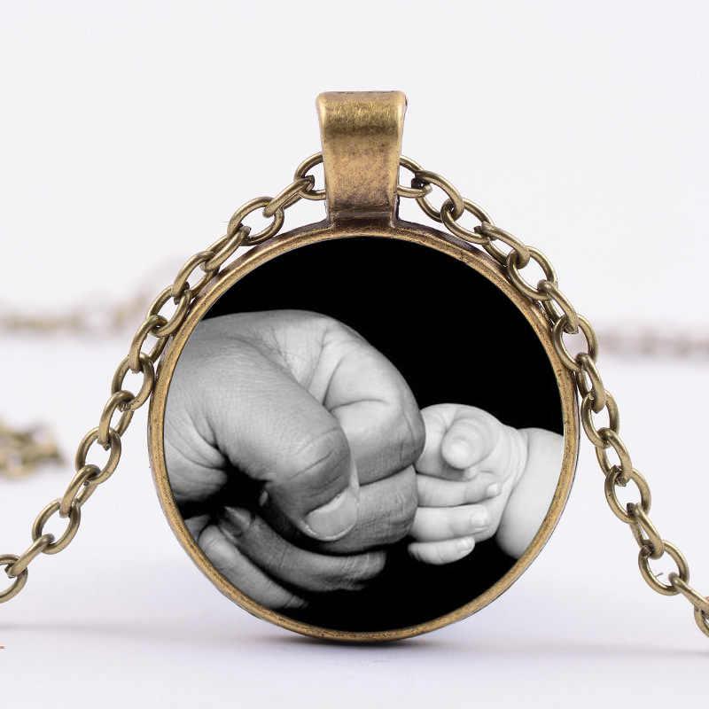 2018/collier en verre à motifs à la main pour père et fils pour cadeau de fête des pères, accessoires pour vêtements, collier pendentif.