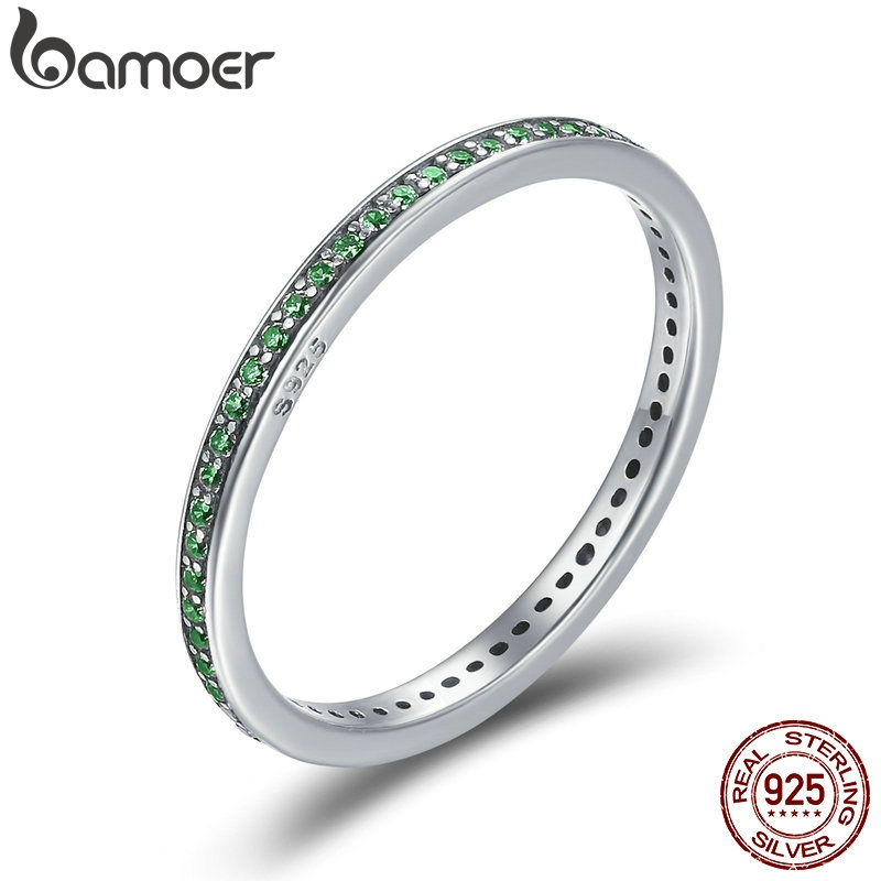 BAMOER Real 925 Sterling Silver Luminous CZ Light Green Round Female Finger Rings