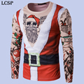 LCSP Novelty Man Santa Claus 3D Print Tattoo T-shirt 3d Printed Merry Christmas Men Long Sleeve Top T-shirt Clothes