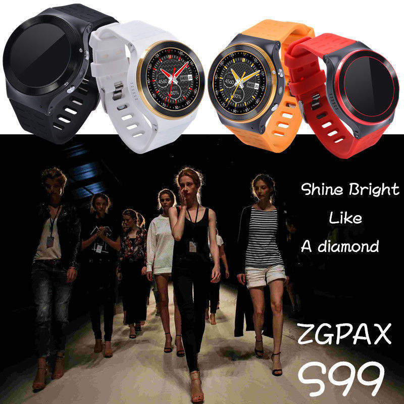 ZGPAX S99 Quad Core 3G Smart Watch Android 5.1 With 8GB ROM 5.0 MP Camera GPS WiFi Bluetooth V4.0 Pedometer Heart Rate Monitor original zgpax s99 gsm 3g quad core android 5 1 smart watch with 5 0 mp camera gps wifi bluetooth v4 0 pedometer heart rate new