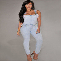2016 Women Washed Jeans Denim Casual Hole Loose Jumpsuit Overall Pants Bib