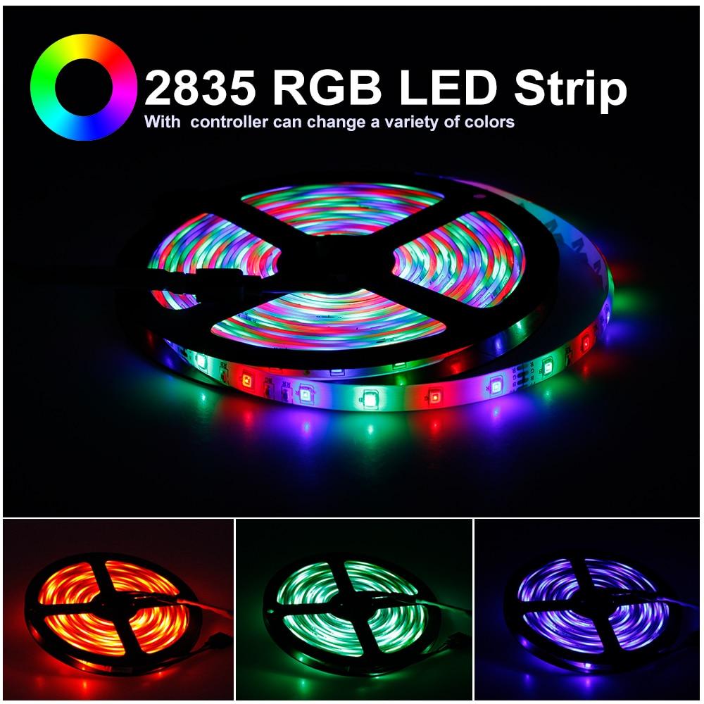 RGB LED Strip Light 5050 2835 DC12V Neon Ribbon Waterproof Flexible LED Diode Tape 60LEDs m RGB LED Strip Light 5050 2835 DC12V Neon Ribbon Waterproof Flexible LED Diode Tape 60LEDs/m 5M 12V LED Strip for Home Decoration