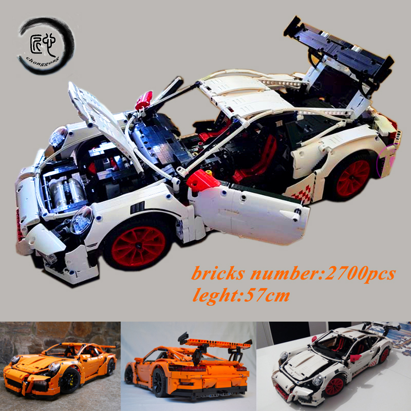 New technic series race car fit legoings 42056 technic speed car model building kits blocks bricks diy toys boys birthday gift