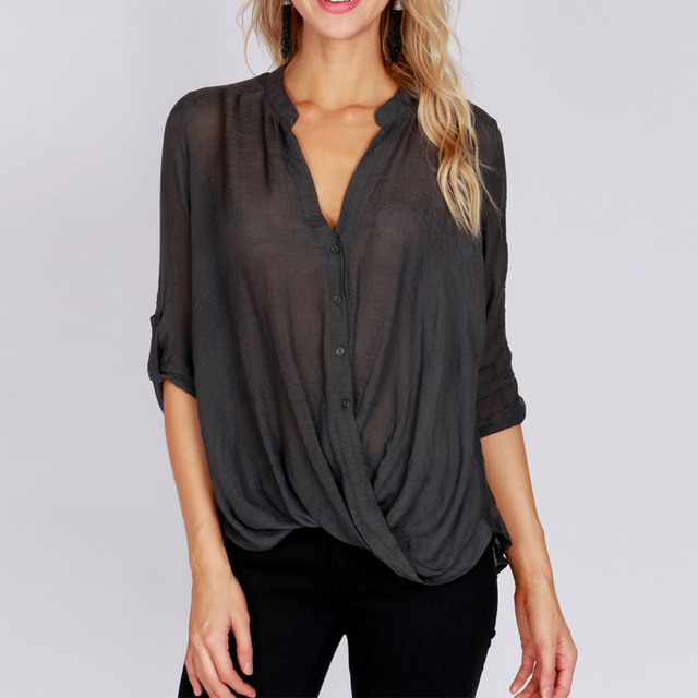 83136e2db12 Oversized ZANZEA Spring Elegant Women Deep V Neck Long Sleeve Buttons  Shirts Solid Pleated Loose Work Blouse Asymmetric Hem Tops-in Blouses &  Shirts ...