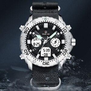 Image 5 - GOLDENHOUR montre bracelet pour hommes, montre bracelet analogique en toile, numérique à double affichage, étui en argent, à la mode Sports de plein air, style militaire
