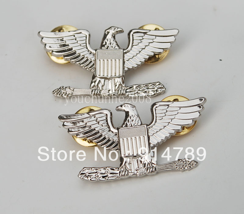 PAIR WW2 WWII US ARMY COLONEL EAGLE WAR BIRD DEVICE PIN BADGE INSIGNIA -31925