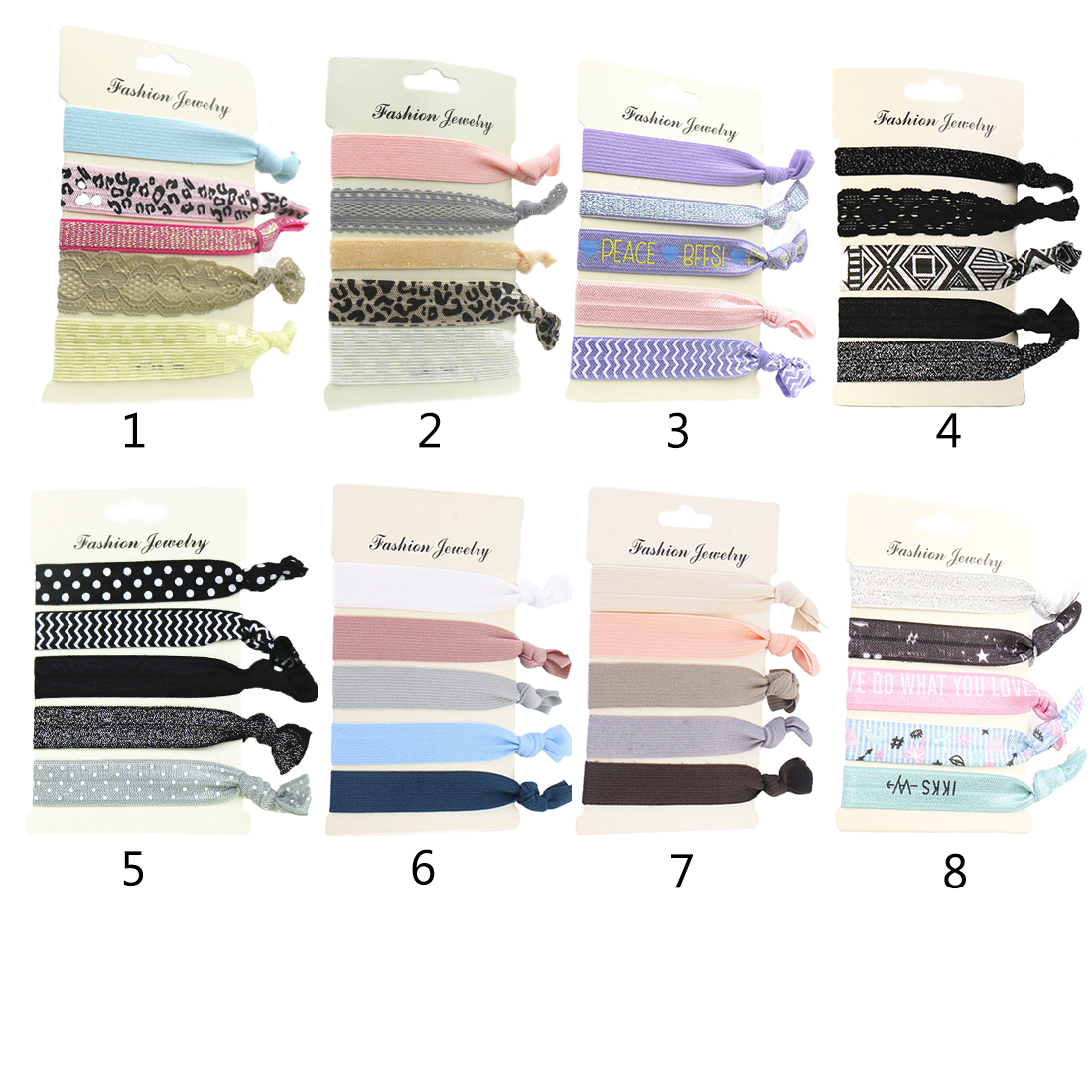 5PCS/Pack Women's Trendy Tassel Elastic Hairband Bowknot Hand Band For Girls Hair Ties   Headwear   Tie Gum Hair Accessories