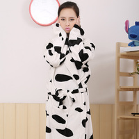 Lover Couple Sexy Winter Warm Adult Cow Sleepwear Casual Flannel Cute Pyjama Bath Robe Women Men