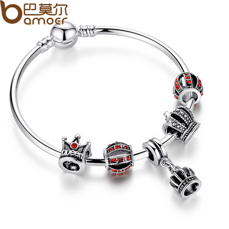 Crown Charm Bracelet: BAMOER Simple Silver Charm Bangle & Bracelet With Royal