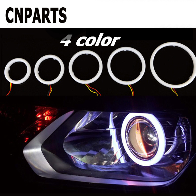 CNPARTS Halo Ring Angel Devil Eyes Projector <font><b>Headlight</b></font> LED Lights For Volvo S60 V70 XC90 Subaru Forester Peugeot 307 <font><b>206</b></font> 308 407 image