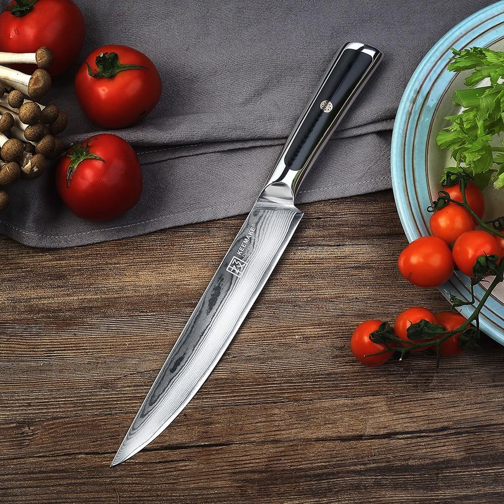 "Keemake 8 ""인치 슬라이싱 나이프 주방 요리사 나이프 다마스커스 vg10 스틸 면도기 샤프 60hrc 블레이드 절삭 공구 g10 손잡이-에서주방 칼부터 홈 & 가든 의  그룹 3"