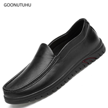 Men's shoes casual breathable black loafers shoe youth platform slip-on shoes for men driving & work man shoes leather genuine