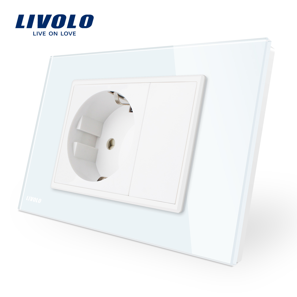 Livolo EU  Power Socket, White Crystal Glass Panel, AC 110~250V 16A Wall Power Socket, VL-C9C1EU-11 livolo remote switch with crystal glass panel wall light remote touch led indicator 3gang 1 way vl c503r 11 12 without remote