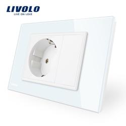 Livolo Soquete De Energia DA UE, Branco/Preto Painel de Vidro de Cristal, AC 110 ~ 250V Tomada de Parede 16A, VL-C9C1EU-11/12