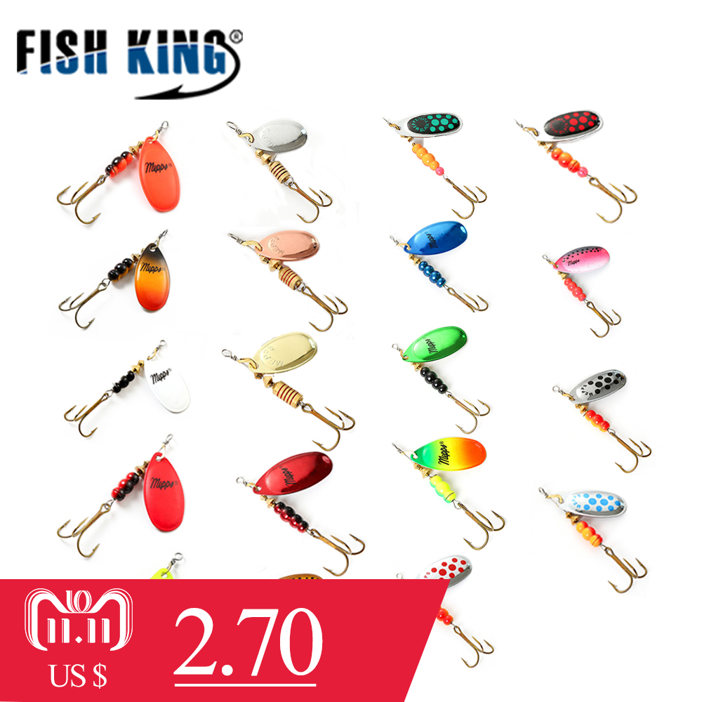 FISH KING 3Pcs Spinner Bait Mepps Metal Fishing Lure Bass Hard Baits Spoon With Copper Treble Hook Hard Lures Fishing Tackle walk fish 3pcs 6cm 2 2g metal carp fishing lure vibration fishing hard bait pesca spinner spoon with hook fishing tackle