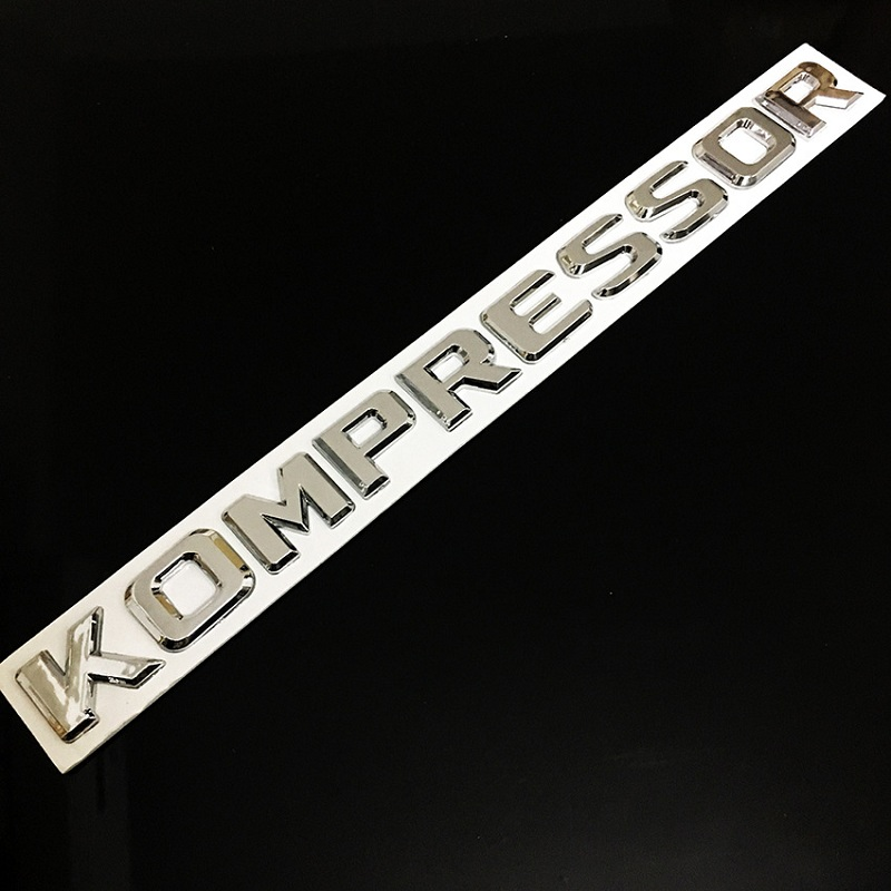 3D Chrome ABS KOMPRESSOR Badge Emblem Sticker for <font><b>Mercedes</b></font> <font><b>Benz</b></font> <font><b>SLK</b></font> CLK SL CLS ML GL A B C E S Class CL55 <font><b>SLK200</b></font> C180 CLC200 image