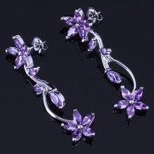 Gracious Flower Purple Cubic Zirconia 925 Sterling Silver Drop Dangle Earrings For Women V1017