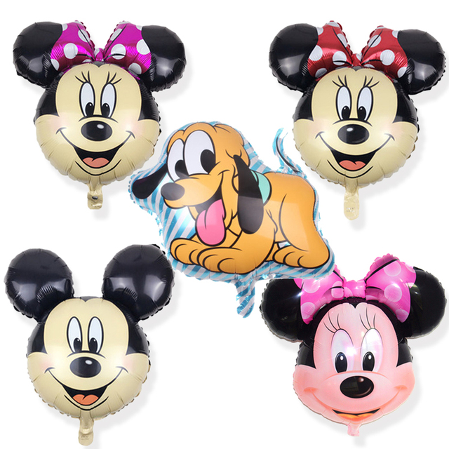5pcs Lot Minnie Mickey Balloon Mouse Birthday Balloons Head Foil Helium Party