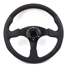 Universal 14inch 350mm Flat Genuine leather Drift Racing Steering Wheel
