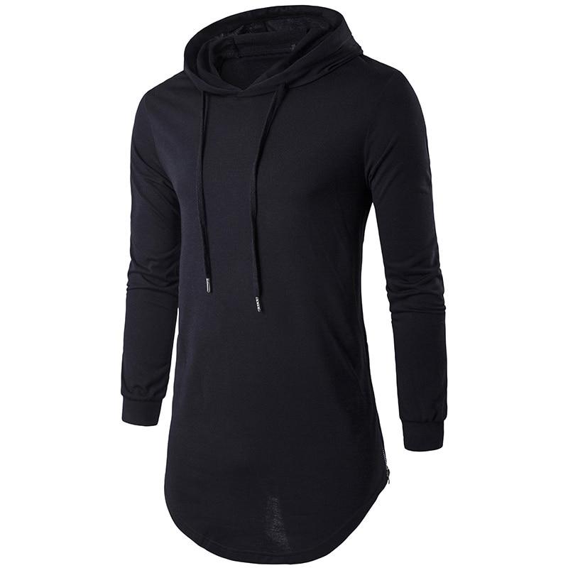 2017 Men's Fashion Long Hooded T Shirt Hip Hop Streetwear T-Shirt Casual Solid Sling Longline Zipper T Shirts Tops Plus Size