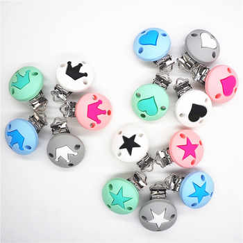 Chenkai 10PCS Silicone Round Heart Star Crown Teether Clips DIY Baby Pacifier Dummy Teething Chain Holder Soother Toy Clips - DISCOUNT ITEM  10 OFF Mother & Kids