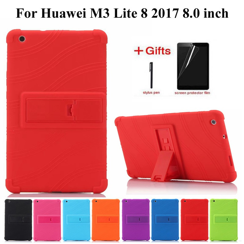 Silicon Soft Case For Huawei Mediapad M3 Lite 8 CPN-W09 CPN-AL00 Funda Tablet Cover For Huawei Mediapad M3 Lite 8 Case+gifts