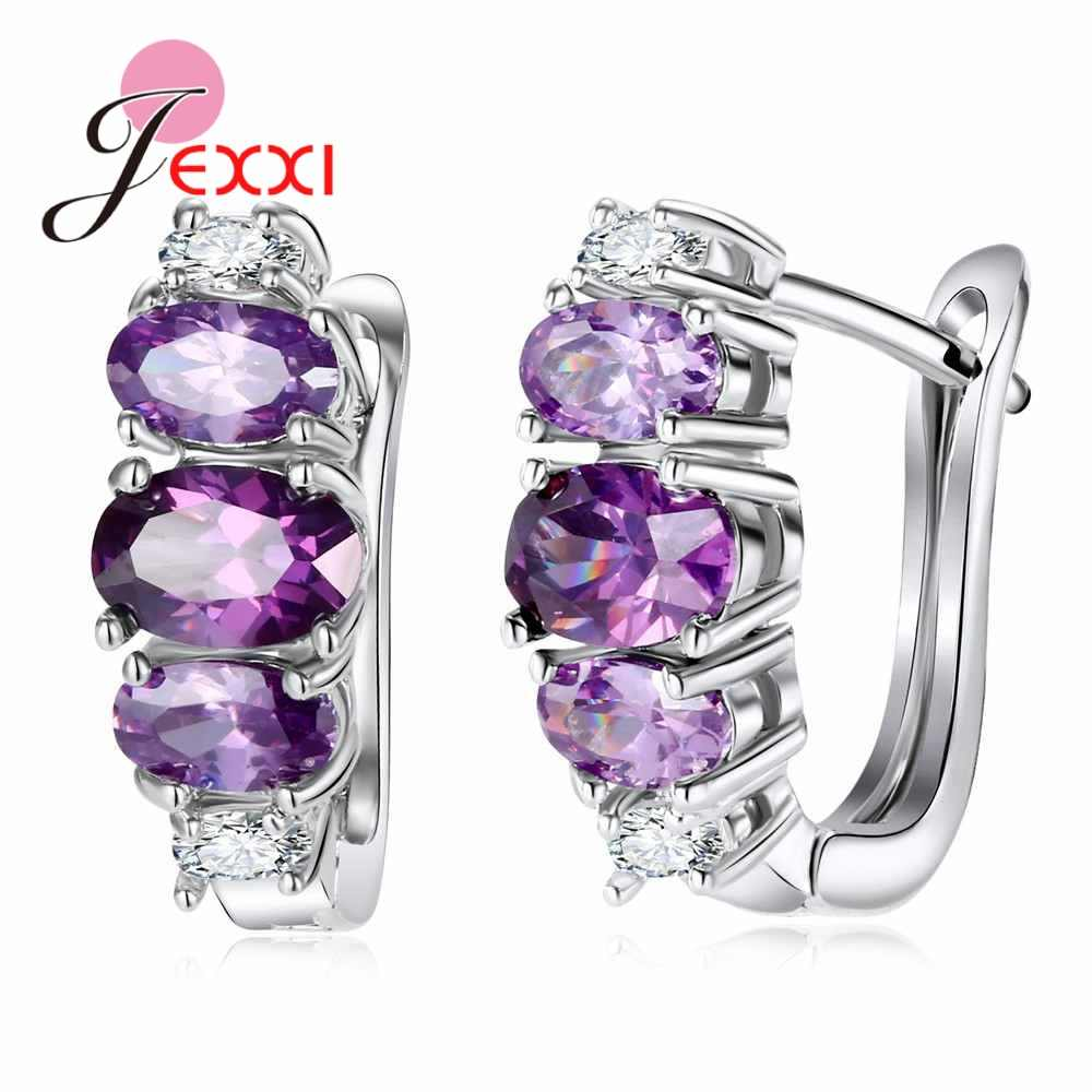 Good Sales Clear Purple Cubic Zirconia Great Pure 925 Sterling Silver Convenient Health Hoop Earrings Wedding Jewelry