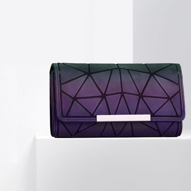 Ladies Folded Geometric Coin Purses Standard Clutch Bag Diamond PVC Plaid Envelope Handbag Bao Bao for Girls Zipper Card Wallet