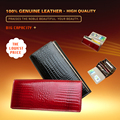 Luxury  Women Alligator Genuine Leather Wallet Long Fashion High Quality Real Patent Leather Portefeuille Femme Hand Bag Purse