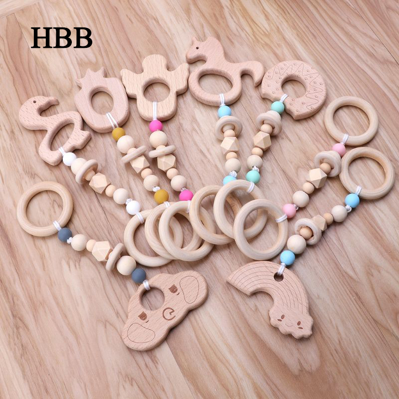 Baby Play Gym Nursing Cartoon Animal Wooden Teether Chew Beads Teething Wood Rattles Toys Teether Montessori
