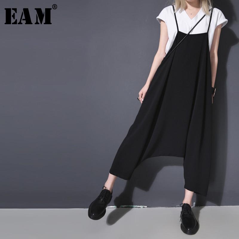 [EAM] 2020 New Spring Autumn High Waist Bruef Strap Black Big Size Loose Wide Leg Pants Women Jumpsuit  Fashion Tide JR710