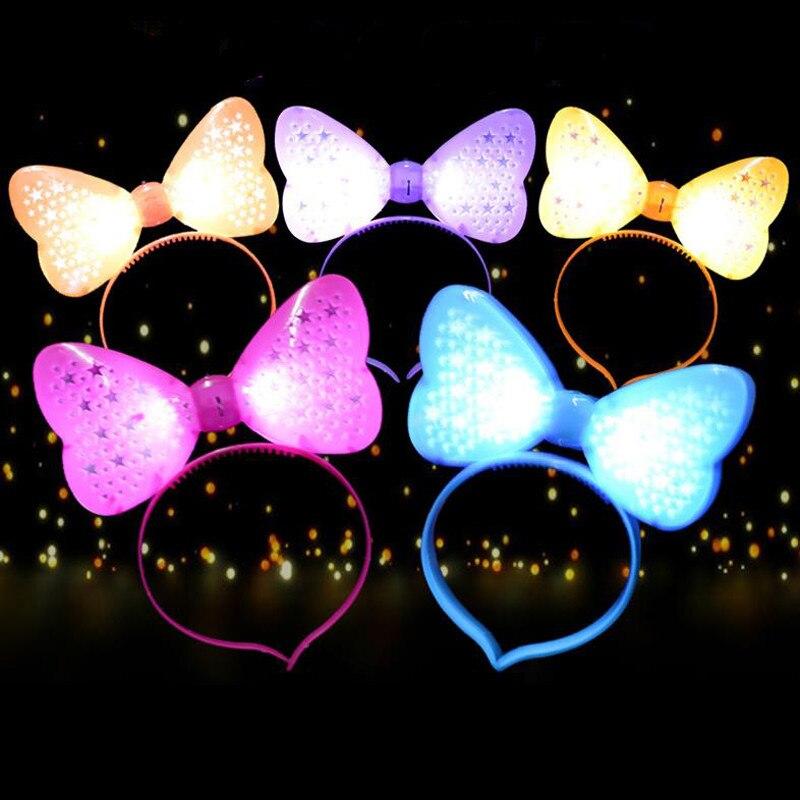 10pcs / lot LED 머리 띠 Bowknot 파티 빛나는 머리 장식 생일 웨딩 축제 용품 플래시 머리 핀 Decors