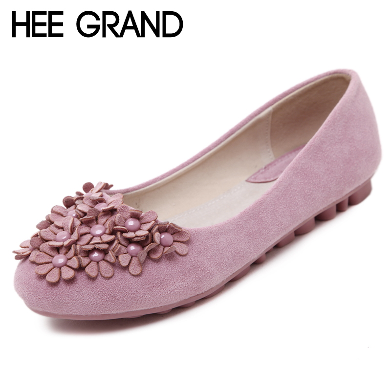 HEE GRAND Flowers Creepers Flats Shoes Woman Round Toe Loafers Comfort Slip On Casual Women Shoes Size 35-40 XWD6371 hee grand casual wedges sandals 2017 summer beach women shoes platform buckle comfort creepers fashion shoes woman xwz3812