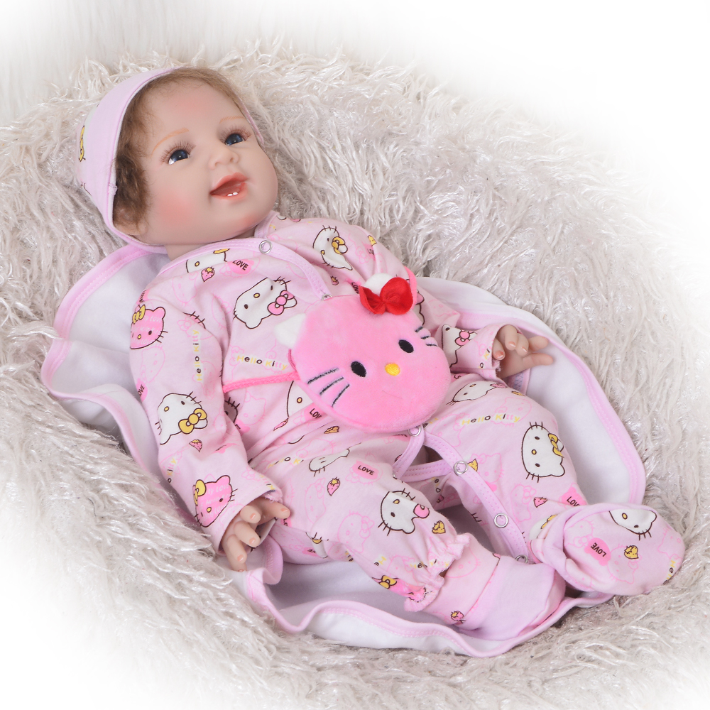 e74ccf56a Sweet Smile Baby Dolls Handmade 22 inch Silicone Reborn Dolls Babies ...