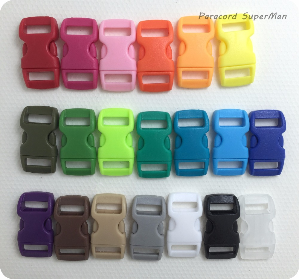20 COLORS 100pcs/lot 10mm Webbing Bag Buckles colorful Plastic Buckles Curved Side Relea ...
