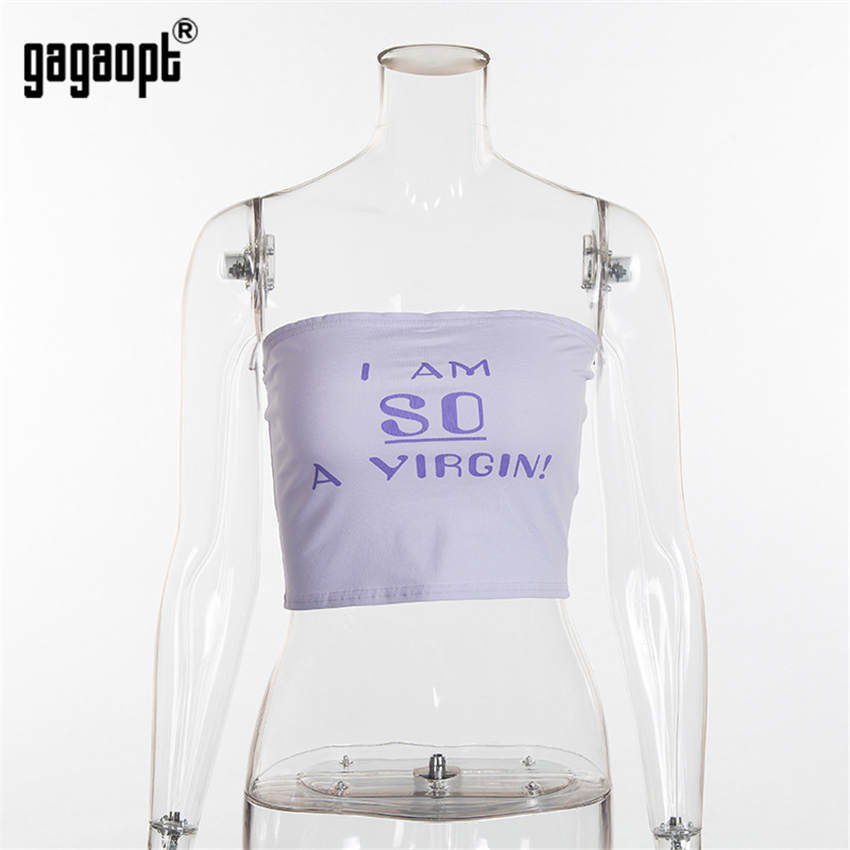 Gagaopt 90% Cotton Summer Crop Top Off-Shoulder Sexy Printed Letter Camisole Vest Tank Tops Casual Sleeveless Strap Camis Tops