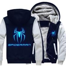 Free Shipping USA size Men Women Superhero Spider-Man Thicken Hoodie Luminous Zipper Coat Clothing Jacket