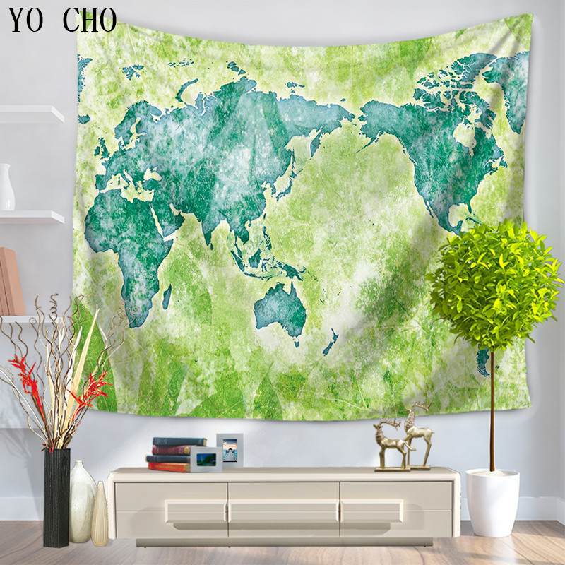 YO CHO Bedding Outlet Mandala Blanket Beach Murals Yoga Bohemian Decorative Hippie Wall Hanging Tapisserie World Map Tapestry image
