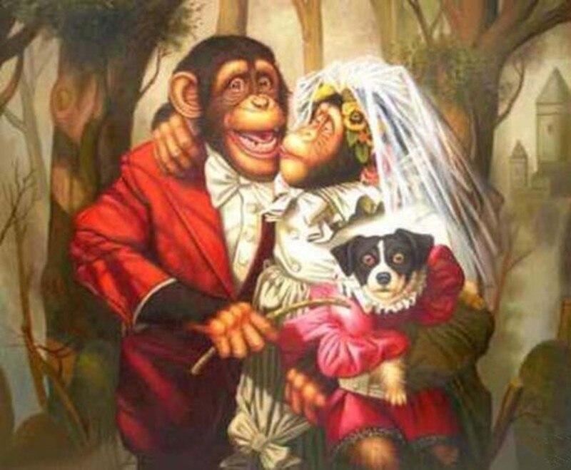 Drôle Animal peinture marié Moneky peinture à l'huile pour la décoration de la maison mur Art sur toile pour salon peint à la main pas encadré