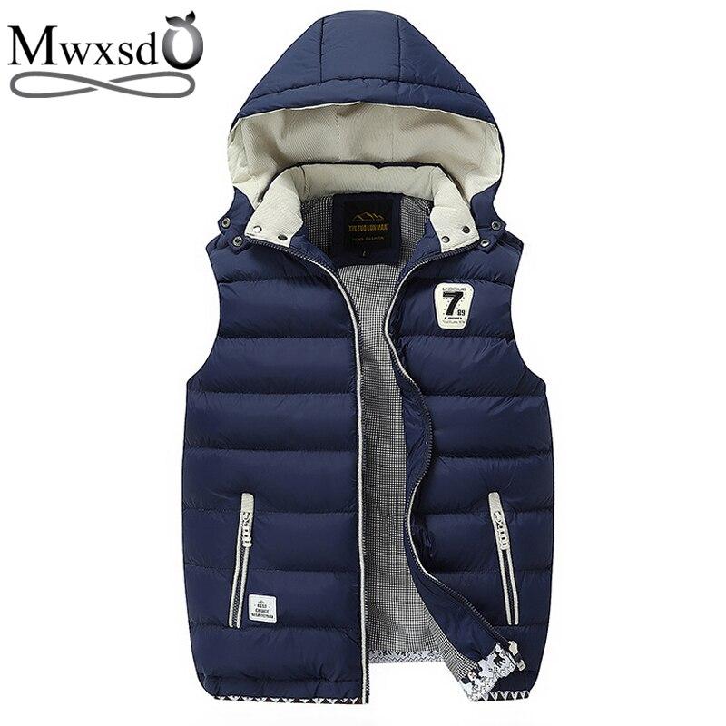 Mwxsd Brand 2018 New Winter Men Hooded warm Vest Outerwear Warm Sleeveless Waistcoat Male cotton Vest Jacket